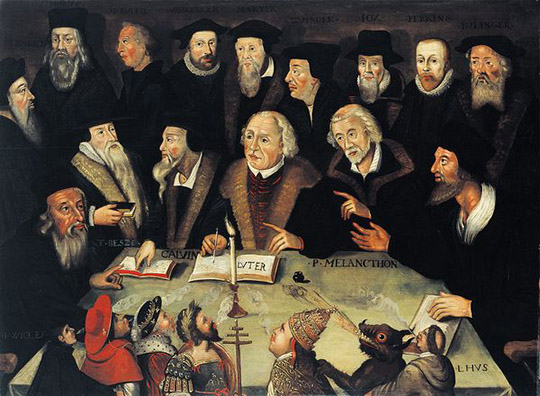 Luther surrounded by reformers