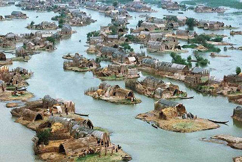 Marsh Arab floating village
